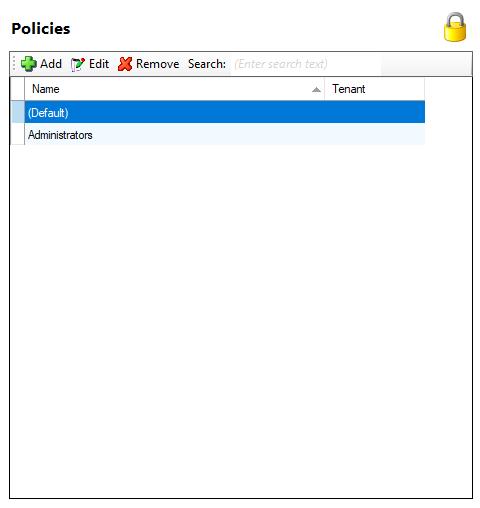 Security policies window