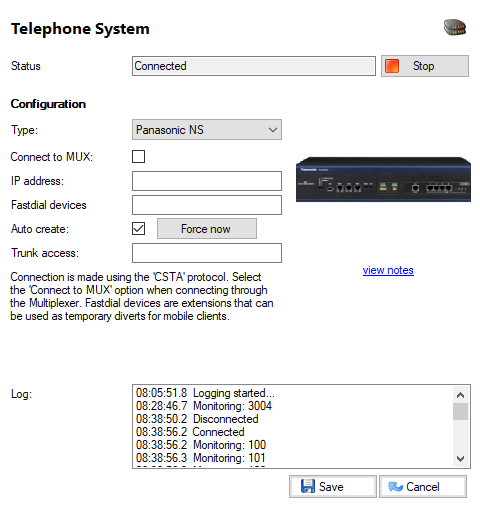 Telephone system window