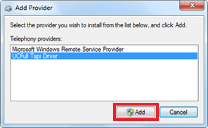 Add Provider window